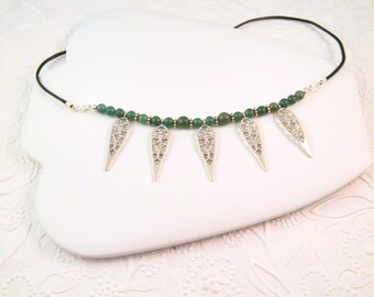 Green Aventurine Necklace with Pewter Teardrops and Black Cord, Green Beaded Necklace