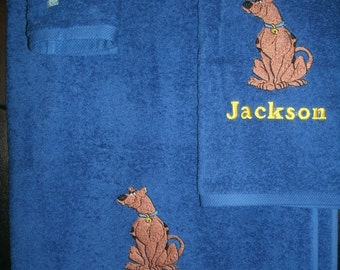 Scooby Doo Personalized Bath, Hand Towel  & washcloth Set Scooby Doo ANY COLOR