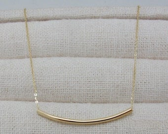 14K solid gold simple curved bar necklace curved tube necklace