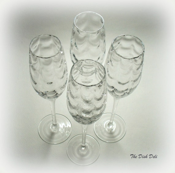 Draped optic champagne flutes hand blown glass set by thedishdeli - Hand blown champagne flutes ...