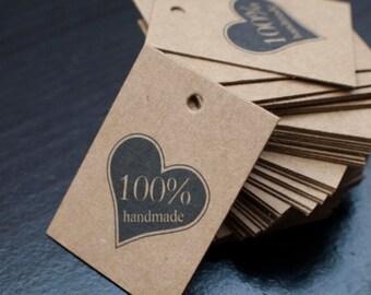 Price tags - brown kraft paper- 3cm x 4xm - heart 100% handmade text