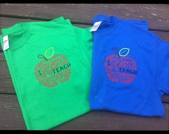 Teacher Apple I Teach Shirt