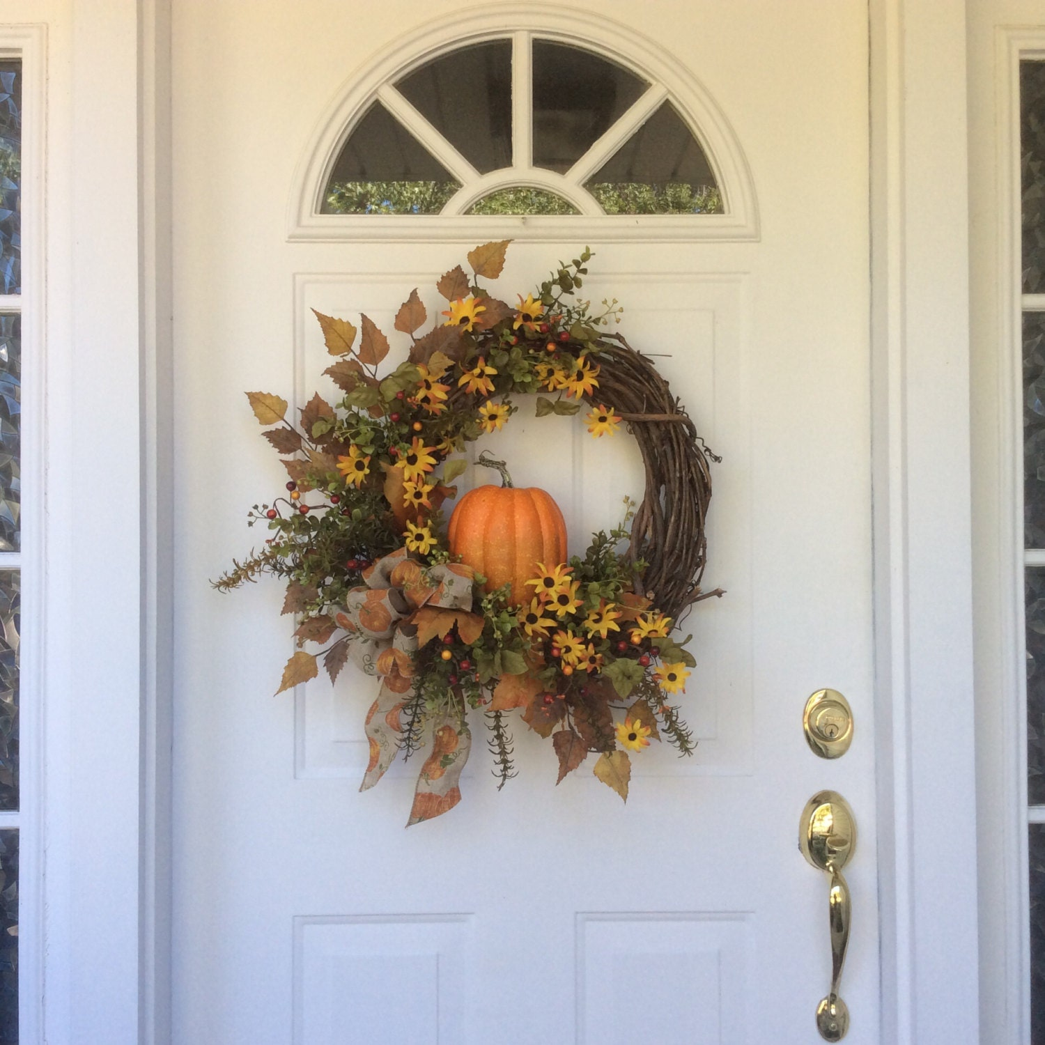Fall wreaths pumpkin wreath front door decor autumn for Front door decor
