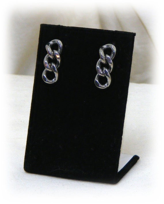 "Very Pretty DROP CHAIN STYLE ""Vintage Stainless Steel"", dangle pierced earrings, never worn"