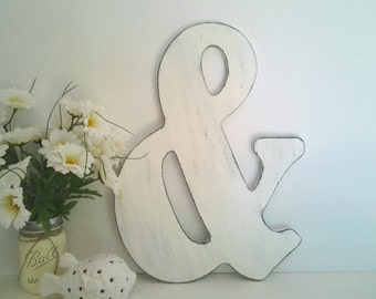 "18"" wooden amplersand symbol, rustic, distressed, farmhouse chic, cottage chic, hand painted"