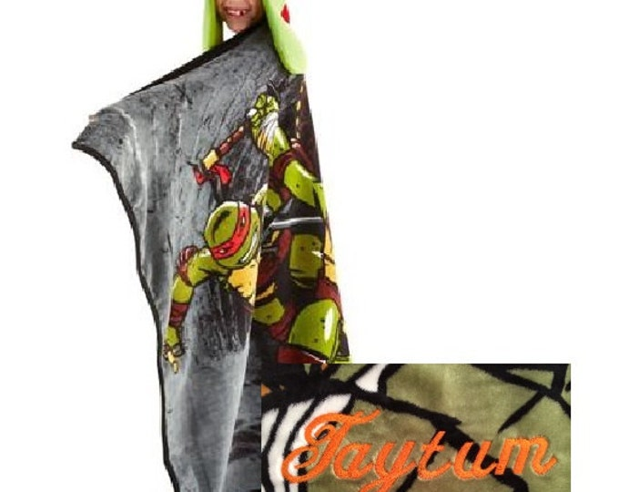 TMNT Teenage Mutant Ninja Turtles Hoodie-Wink Blanket Throw Helmut Hat - Personalized