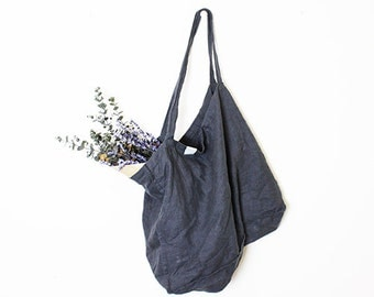 Large charcoal / warm black linen tote bag / linen beach bag / linen shopping bag