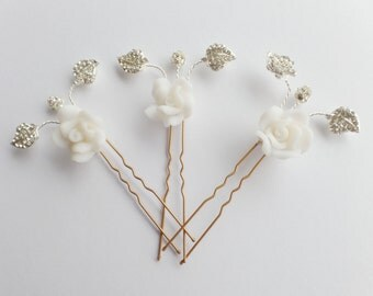 Bridal Crystal Hairpin Crystal Rhinestone Hair Accessory Diamanté Wedding Hairpin Ivory Flower Bridesmaid Hairpin - Flora