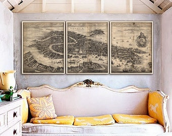 """Old map of Venice 1630 Large map of Venezia, Venice, Italy up to 72x30"""" (180x75 cm) in 1 long print or 3 parts - Limited Edition of 100"""