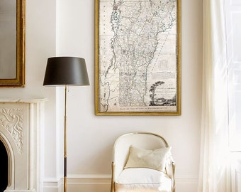 """Old map of Vermont 1796 Historical Vermont Map in 6 sizes up to 48x72"""" in 1 or 6 parts XL wall map of Vermont - Limited Edition - Print 25"""