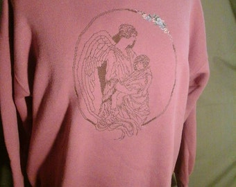 Hand cross stitched angel and child on extra large rose colored sweatshirt