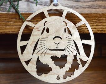 Lop Rabbit wood ornament wood-cut hanging decoration Wooden Lop-eared bunny ornament