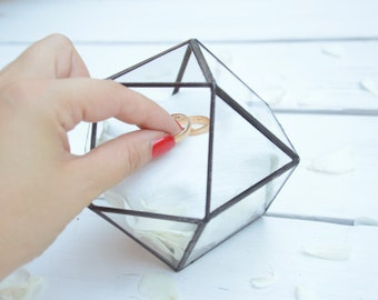 Wedding Ring Holder - Wedding Ring Box - Cuboctahedron Glass Terrarium - Mini Glass Geometric Box