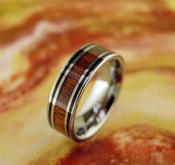 tungsten ring 8mm flat band w hawaiian koa by
