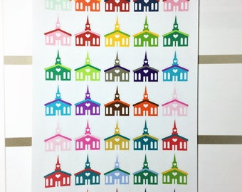 Church Stickers / 35 Count / Planner Stickers