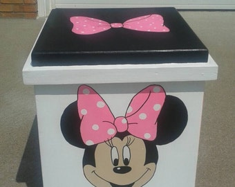 Minnie Mouse inspired toy box, storage box, minnie mouse inspiredtable, kids furniture, hope chest
