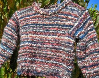 SALE PRICE Australian made: warm woollen jumper rustic look.  Knitted in stripes using textured woollen yarns.