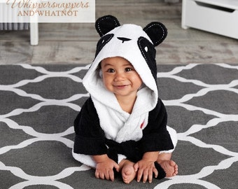 Baby Bathrobe - Baby Bath Robe - Panda Bathrobe - Baby Shower Gift - Boy Baby Shower Gift - Monogrammed Gift - baby Bath towel - Panda bath