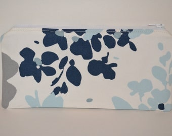 Blue, White, and Gray Abstract Floral Pencil Pouch