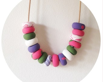 Claire - Polymer Clay Bead Necklace