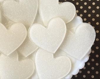 Laser cut hearts - white hearts - glitter hearts - heart cabochons - heart charms - plastic hearts - heart embellishemnets - hearts