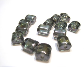 Czech Glass Chicklets 8x7mm Green with Silver Shimmer - Pack 25