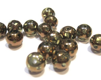Glass 8mm Round - Copper Bead with Clear Spots - Pack 20