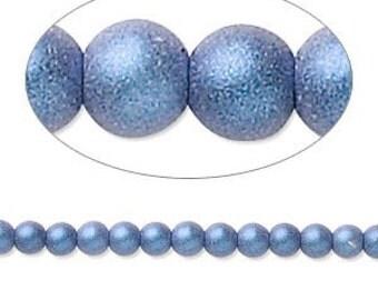Czech Glass Pearls - 4mm - Blue Satin - 100 Beads
