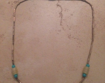 Vintage Liquid Silver Necklace Cream and Blue Stones Boho Tribal Jewelry