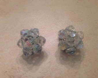 Vintage Crystal Earrings Aurora Borealis Cluster Costume Jewelry