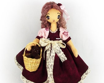 Art cloth doll - Textile doll and cat - Interior doll - OOAK handmade - 10 inch (25 cm) Louisa