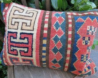 Antique Handmade Rug Pillow Cover 50 x 35 cm - 20' x 14' .. FREE SHIPPING