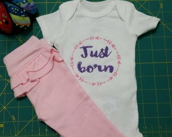 Instant Download Embroidery Machine Pes Designs Arrow Wreath Mod Elements Just Born for  Newborn Baby Bodysuit 2 Sizes PES Format