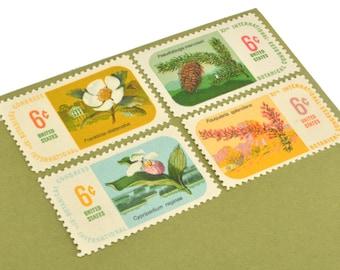 25 Botanical Postage Stamps - 6c - Vintage 1969 - Unused - Quantity of 25 - Flowers/Floral
