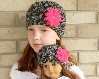 Matching Girl & Doll Hat Set--Black/Grey with Hot Pink Flower