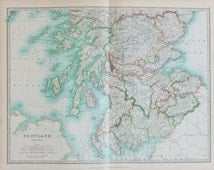 Johnston 1913 Antique Folding Map - Southern Scotland, Hebrides, Pastel Colours