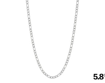 Men's 5.8mm Figaro Chain, Men's Stainless Steel Necklace, Silver Chain Necklace, Chain for Men, Hypoallergenic, Choose from 18in to 40in