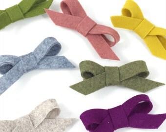 You Choose 2 Bows Hair Clip Set- Bow Set - Wool Felt Bow Hair Clip- Peekabloom