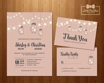 Mason Jar Fireflies, Fairylights Pink Wedding Invitation, RSVP, Thank You Printable, Fireflies in Hanging Mason Jars Wedding Invitation Set