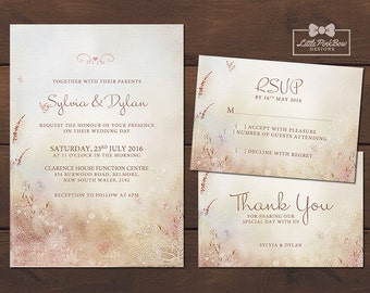 Whimsical Dainty Nature Wedding Invitation, RSVP, Thank You Printable, Whimsical Wedding Invitation Set, Vintage Wedding Invitation Set