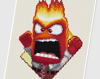 PDF Cross Stitch pattern - 0035.Anger ( Inside Out ) - INSTANT DOWNLOAD