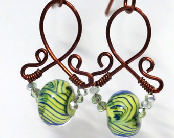 "Copper and Lampwork Earrings - ""Leafy Streamers"""