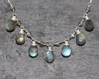 AAAA Labradorite & Sterling Silver Bib Necklace. Flashy Blue Gemstone Jewelry. Wire Wrapped Semi Precious Bead Necklace. Statement Jewellery