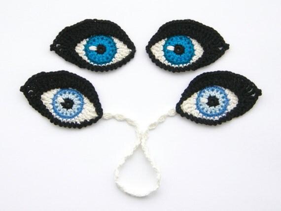 钩针小孔雀羽毛(孔雀眼)的图案及贴花 - maomao - 我随心动