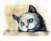 Watercolor Cat Pet Kitty Picture Eyes Art Greeting Card Animals Painting Paws Picture your pet. CUSTOM. The artist Vladislav Kolomoets