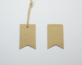 100pcs Luggage (Pennant) Hang Tags, Kraft Card, Blank Merchandise Tags, Price Tags, Includes Free 32ft Jute Strings in a Bobbin #SD-S7766