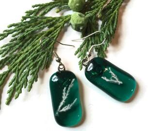 Teal Dangle Earrings, botanical Earrings, Fused Glass Earrings, Green Earrings, Drop earrings, emerald earrings, Teal Earrings