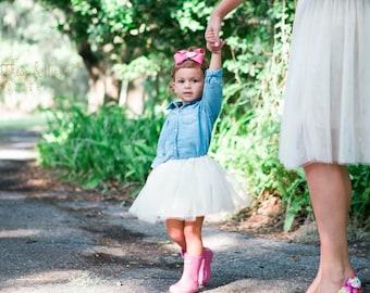 Girl's Tulle Skirt- ivory tutu- birthday skirt- toddler tulle skirt