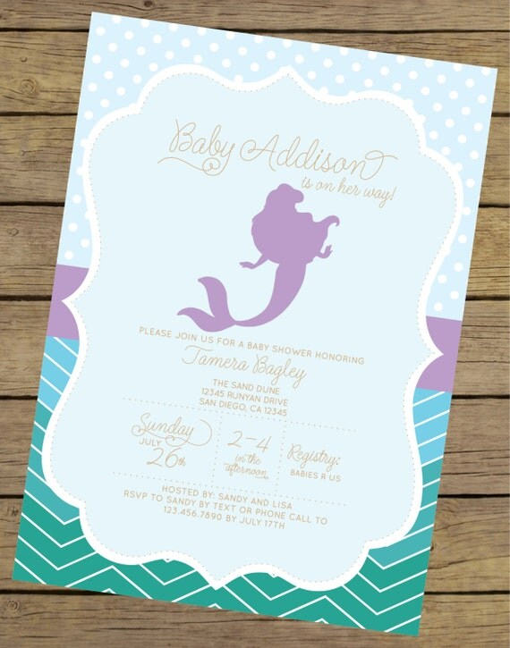 baby shower invitation little mermaid baby shower invite ariel