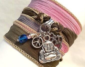 Buddha Wisdom Hand Dyed Silk Wrap Bracelet, Boho Yoga Jewelry; Item WRP- 50c